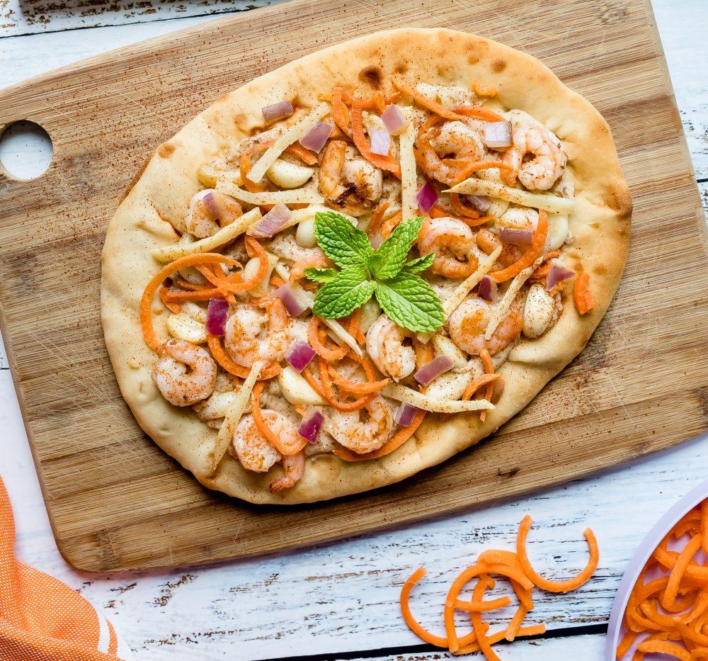 Curried Shrimp Garlic Naan