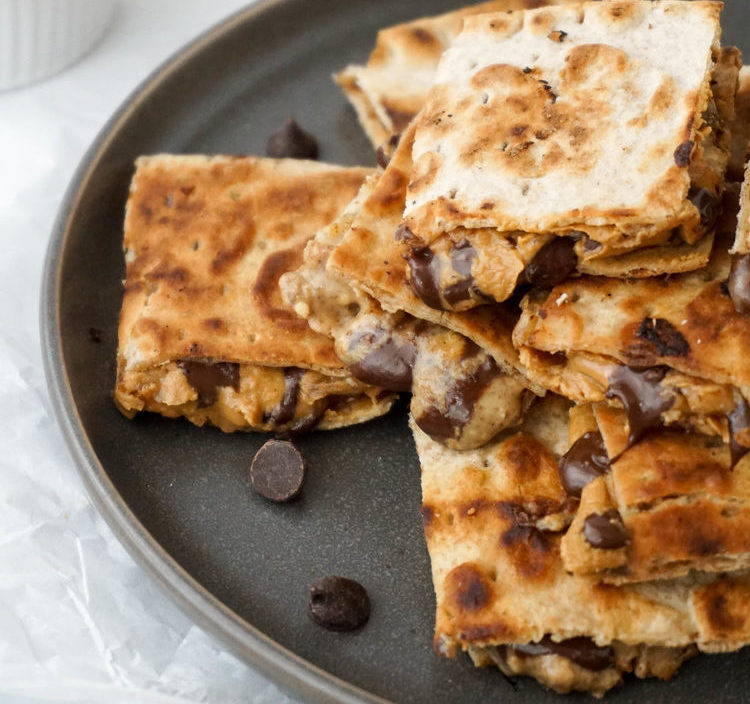 Peanut Butter, Chocolate, and Banana Lavash Quesadillas