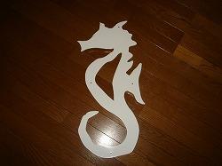 タツノオトシゴを素敵にデザインしたおしゃれで人気のロートアイアン風アルミ製オーダー妻飾りの写真