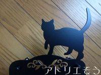 猫インターホンカバー ロートアイアン風錆に強いステンレス製の猫モチーフのインターホンカバー