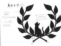 12-猫妻飾り 。おしゃれで人気のロートアイアン風アルミ製オリジナル妻飾りFタイプに小さい猫のモチーフを加えた妻飾りの写真