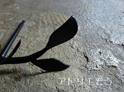 ロートアイアン風錆に強いステンレス製葉っぱ表札