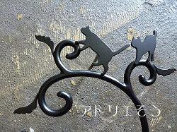 ロートアイアン風錆に強いステンレス製の猫7匹+唐草表札