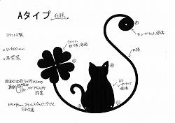 イニシャルS+猫+四葉のクローバー妻飾り。ステンレス製妻飾り。