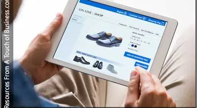 Image of a tablet displaying a ecommerce site
