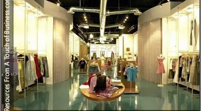 Image of the inside of a retail clothing store
