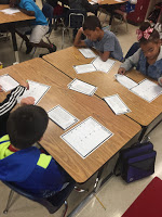 Students practicing theme use task cards