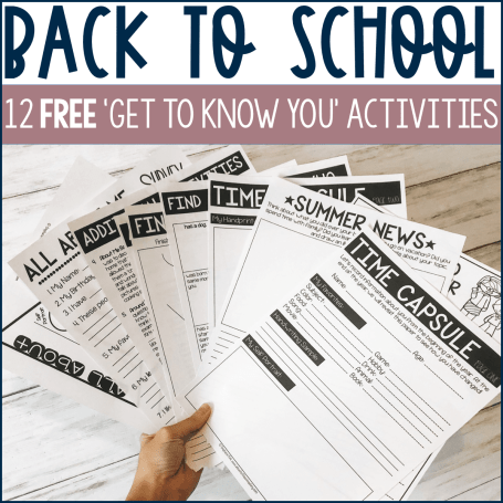 12 free get to know you activities on the first day of school for any classroom.