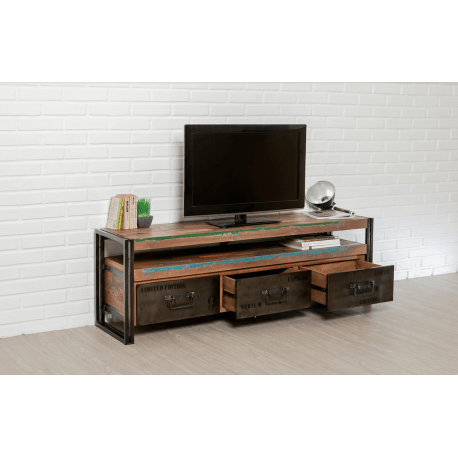 meuble tv industrielle tindo teck massif recycle metal atout mobilier
