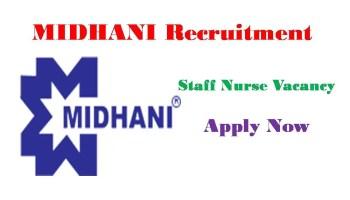 MIDHANI Recruitment 2021 nursing jobs
