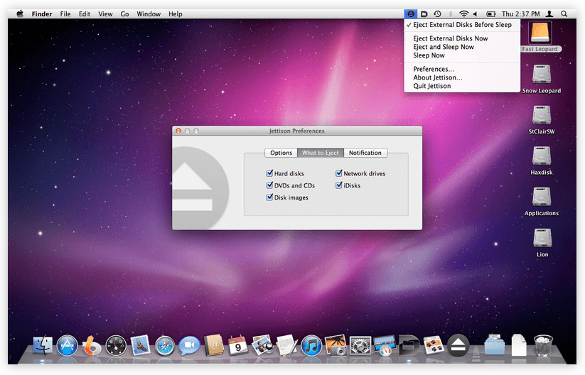Automatically eject external disk on sleep on OS X