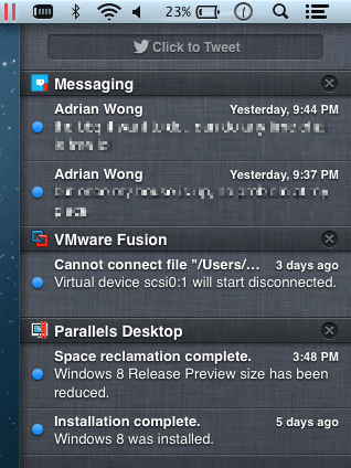 Notification Center support