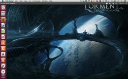 The Unity menu bar remains on the OS X desktop