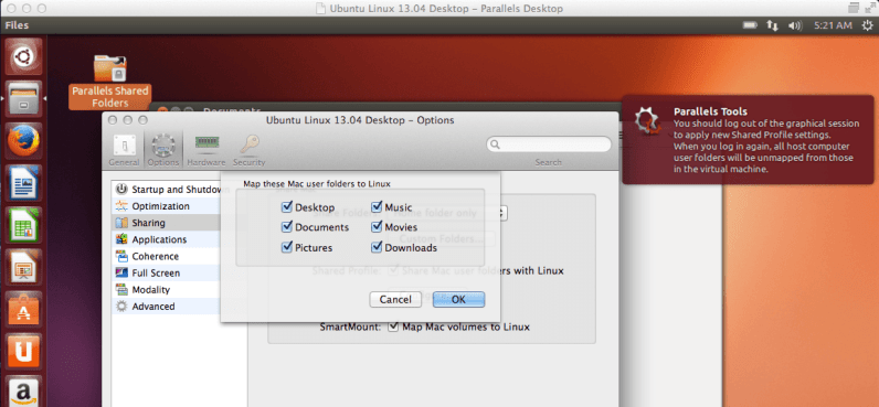 Sharing the OS X user folders with the Ubuntu guest OS