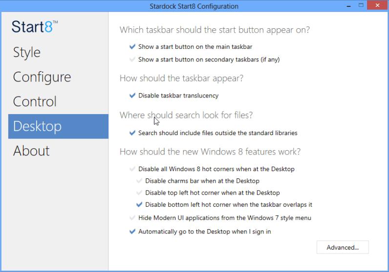 Start8: Desktop