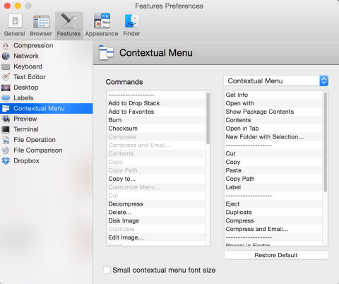 Contextual Menu Configuration