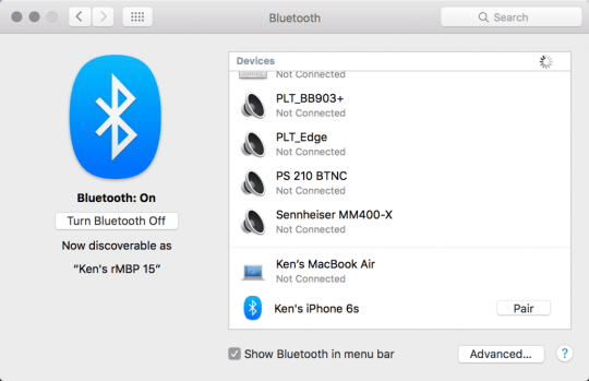 Pairing the iPhone in MacOS Bluetooth menu