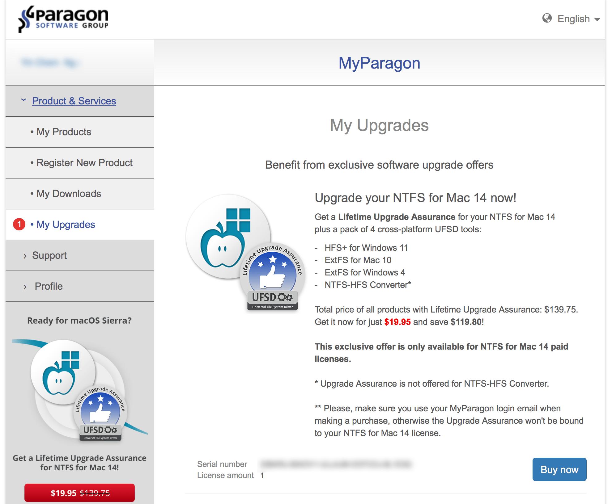 Get a lifetime upgrade assurance for Paragon NTFS for Mac!