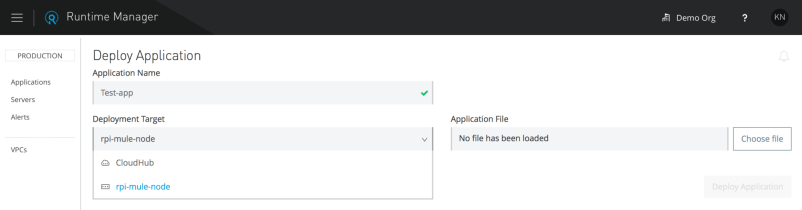 Now you can deploy a Mule application to the Mule Runtime server on the Raspberry Pi