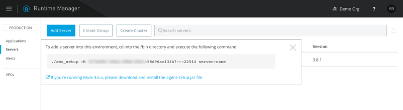 Adding a new mule server to Runtime Manager