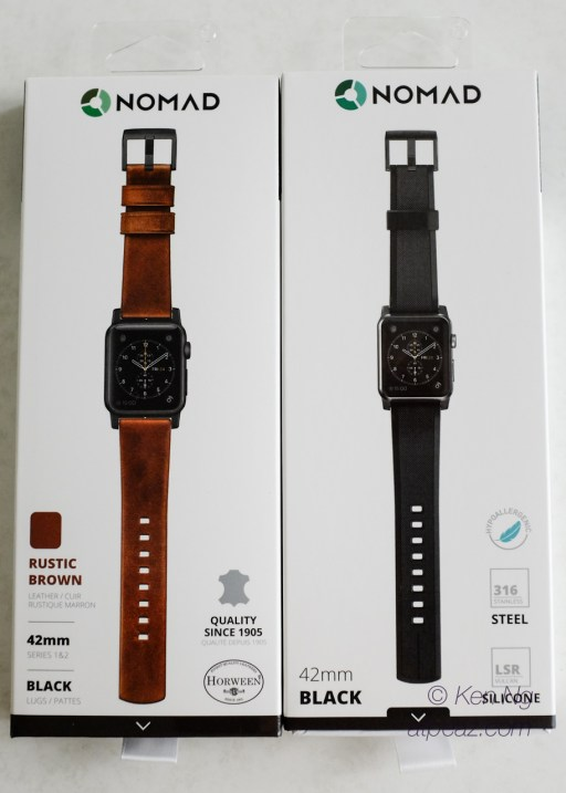 The packaging of Nomad Straps for Apple Watch