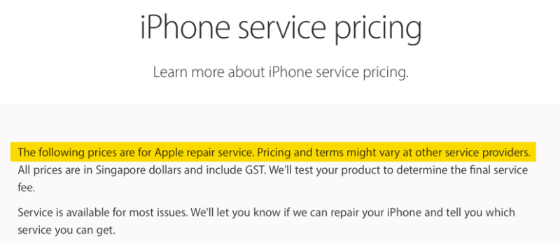 Apple Support page on iPhone service pricing