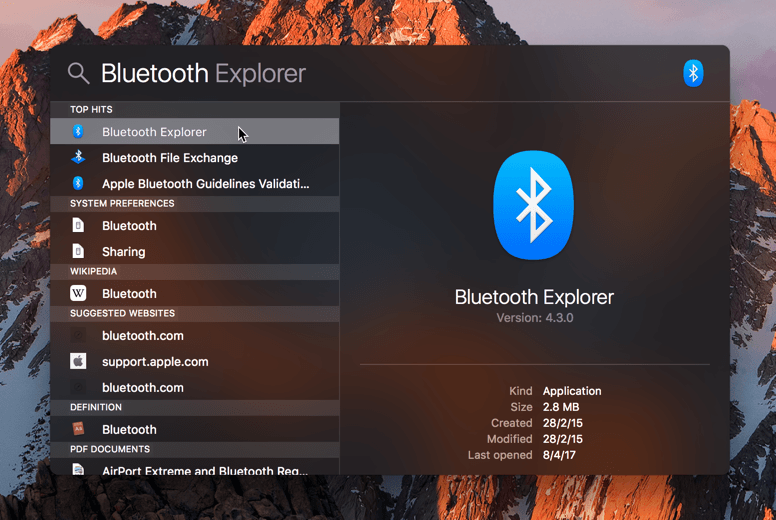 Search for Bluetooth Explorer in Spotlight