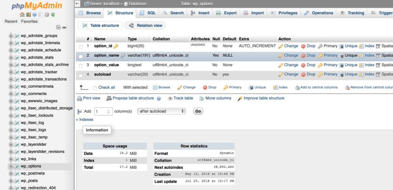 Wordpress wp_options table