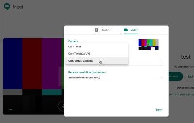 Using the OBS Virtual Camera on Google Meet