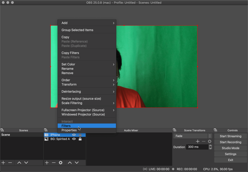 Edit filters of the video source on OBS
