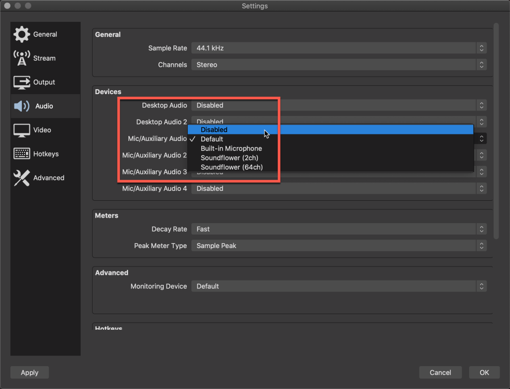 Disabling audio on OBS