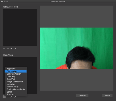 Adding a Chroma Key effect for the video source