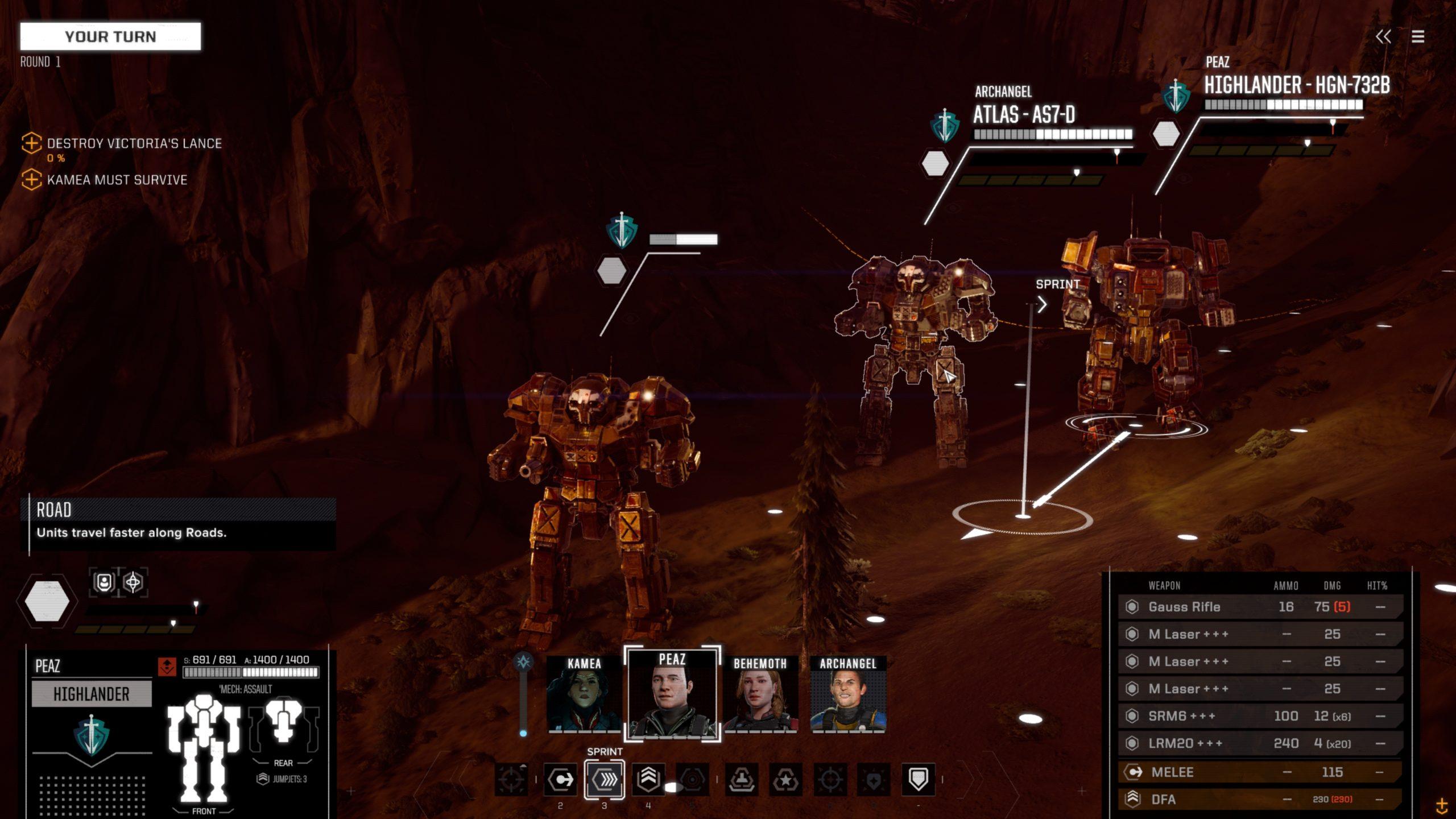 Battletech scene - close-up to the Mechs
