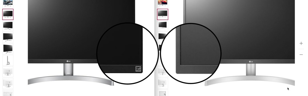 Comparing the frame of the 27UL600-W and 27UL500-W