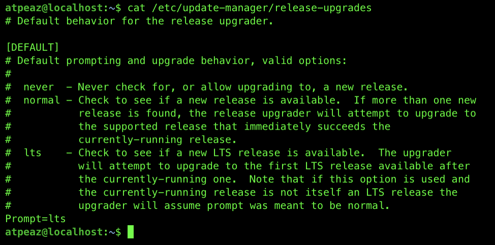 Ubuntu release upgrade, Prompt is set to lts