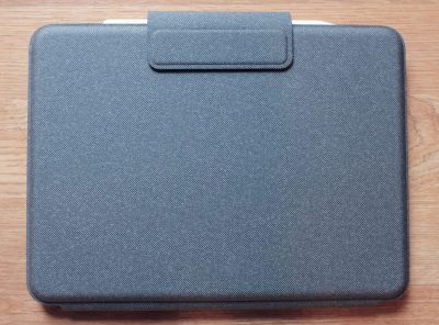 Logitech Folio Touch closed with the Apple Pencil magnetically attached to the iPad