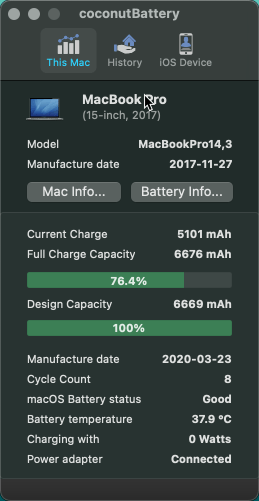 MacBook at 100% battery health