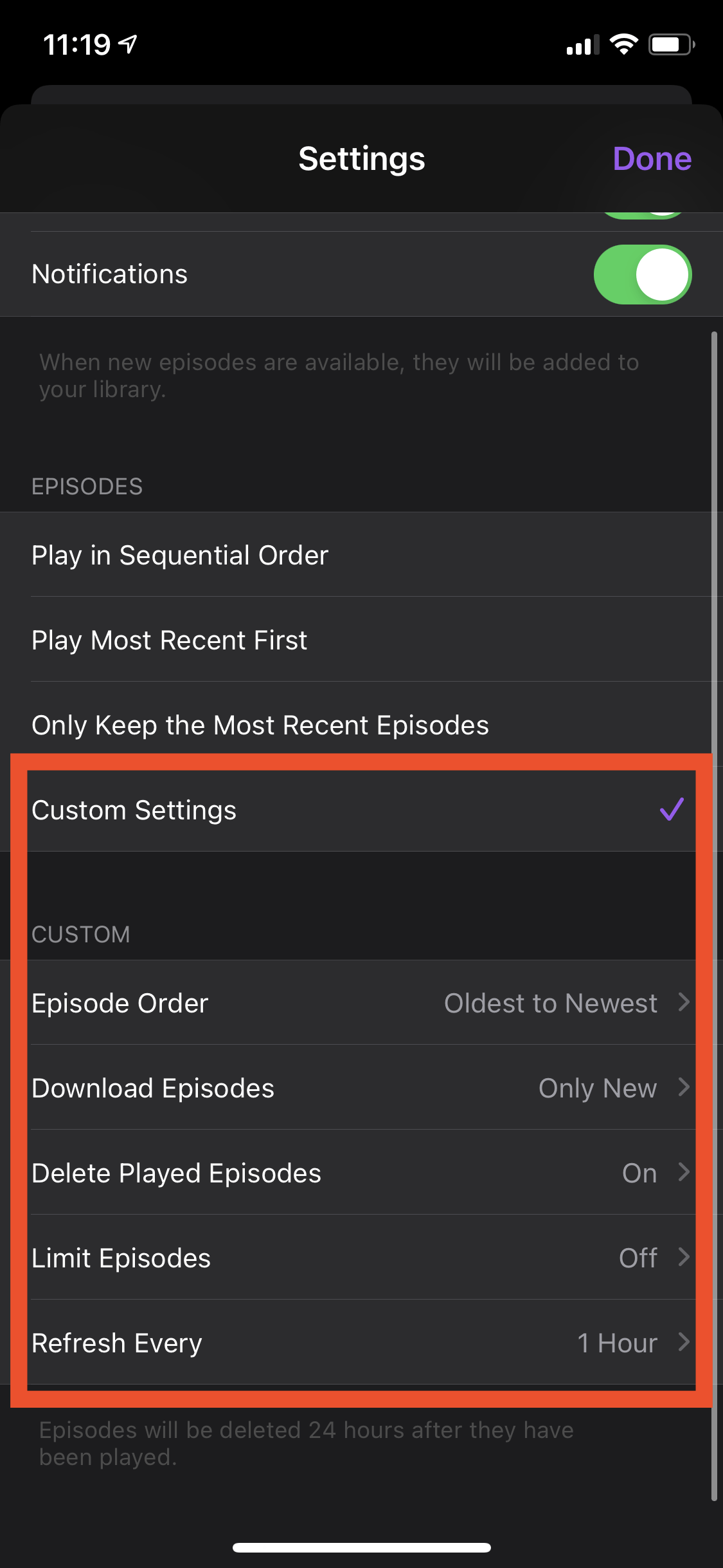 Apple Podcast series custom settings