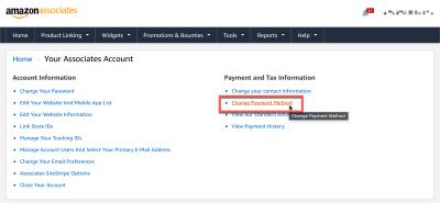 Change Payment settings on your Amazon Associates account.