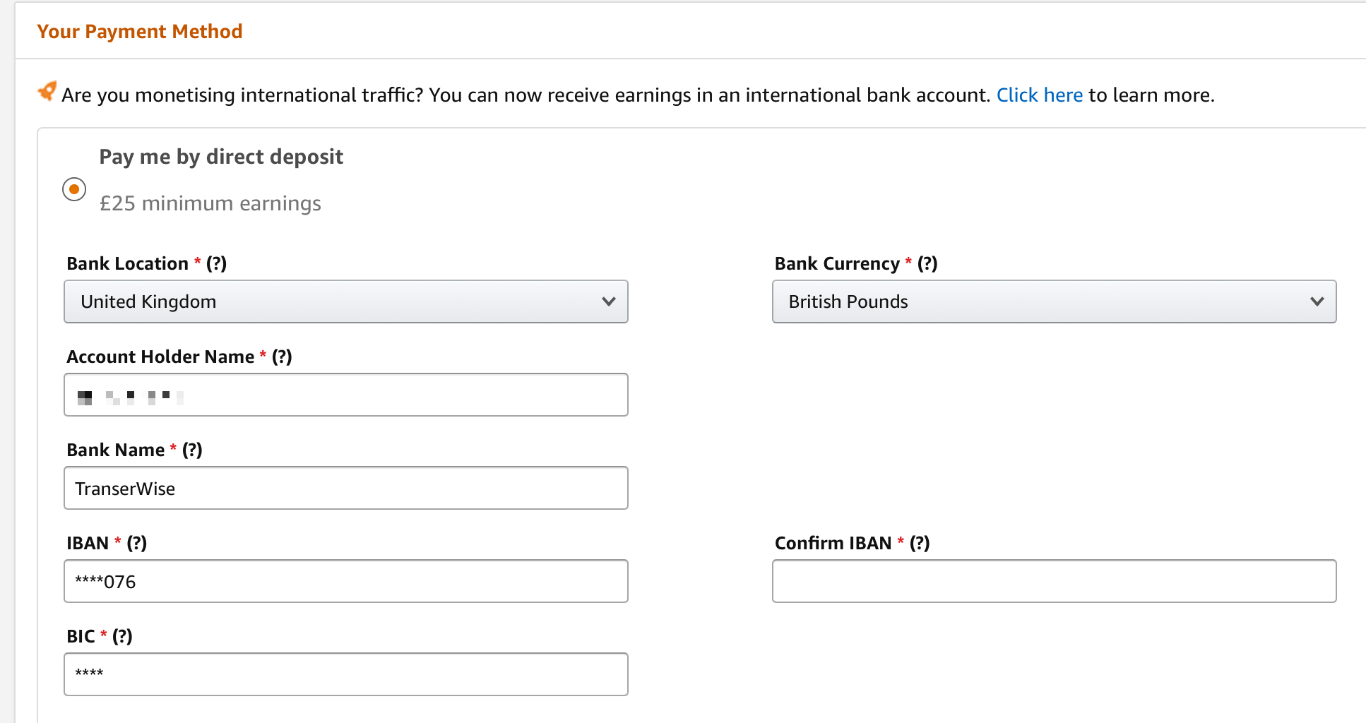 Set up amazon associates payment to Wise