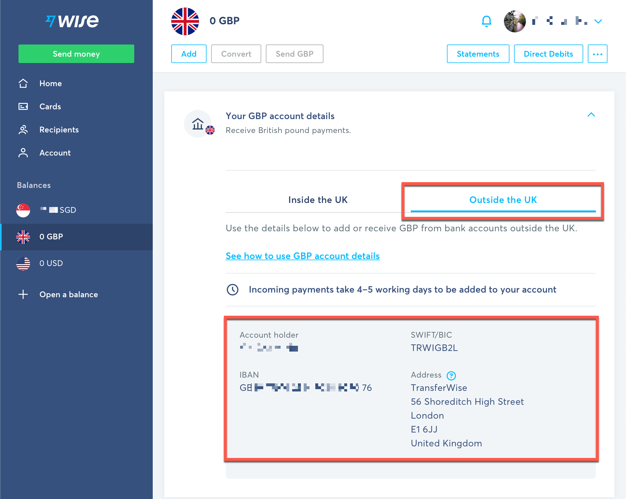 Wise GBP account details for Amazon Associates payments