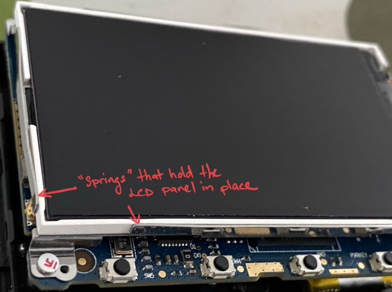 How the LCD panel is held on the Yi dashcam