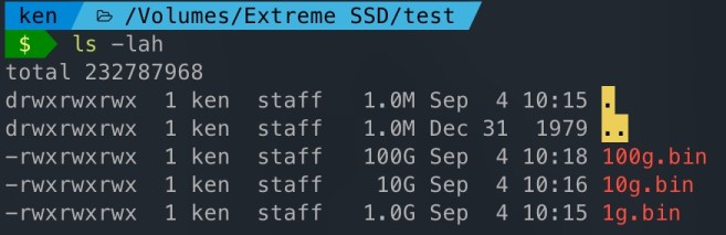 Sandisk Extreme SSD E61 - disk write test - list of files