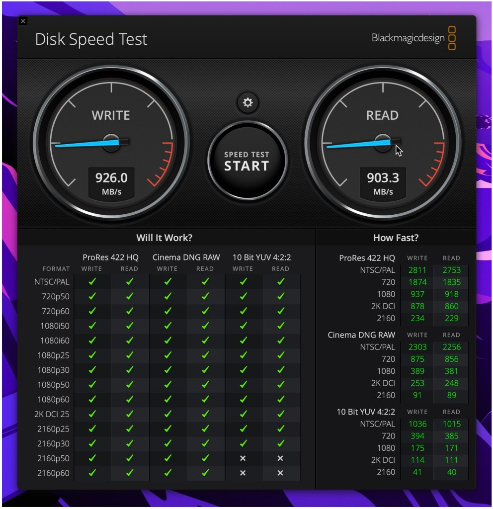 Sandisk Extreme SSD E61 Disk Speed Test benchmark - 1GB file test