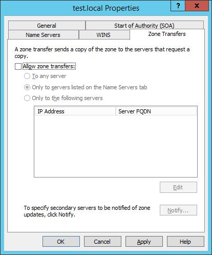 Отключаем AXFR и IXFR трансфер у зон, интегрированных в Active Directory