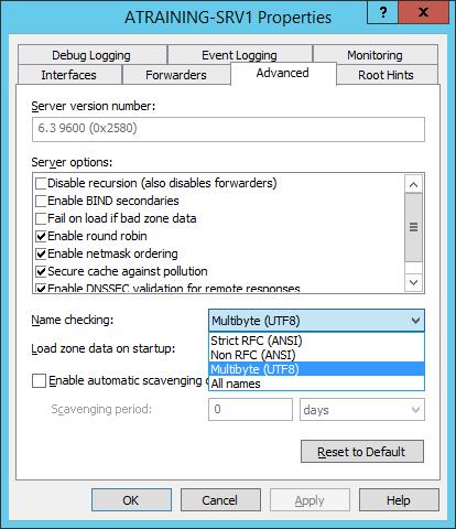 Фильтрация Name checking в Microsoft DNS server