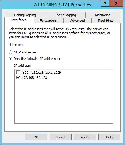 Привязка DNS-сервера к сетевым интерфейсам Windows Server 2012 R2