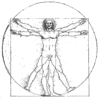 The Famous Vitruvian Man by Da Vinci, showing the golden ratio proportions in us
