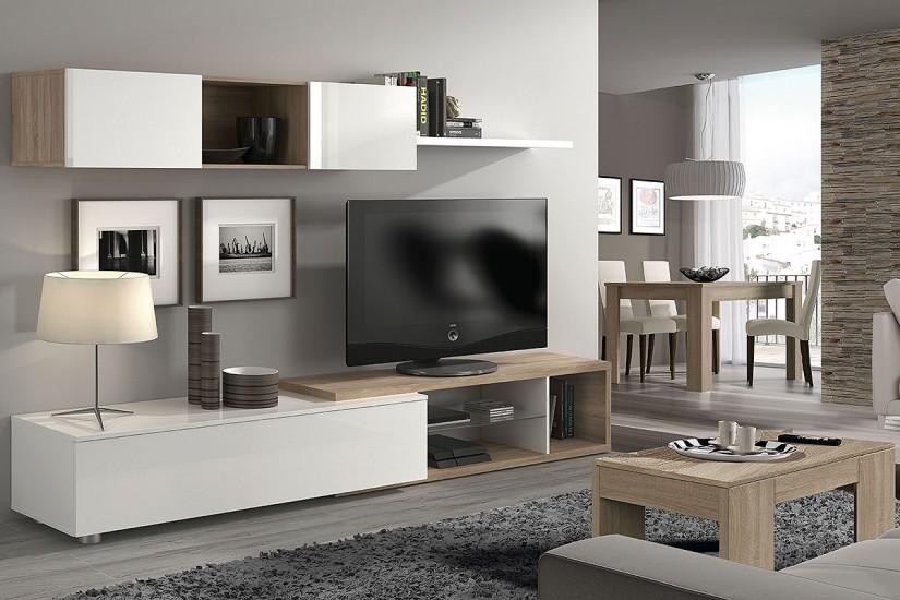 Mueble de saln  comedor NAIA en color blanco y Roble