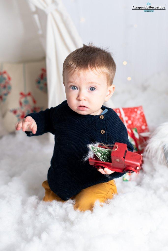 fotografía infantil decorado de navidad